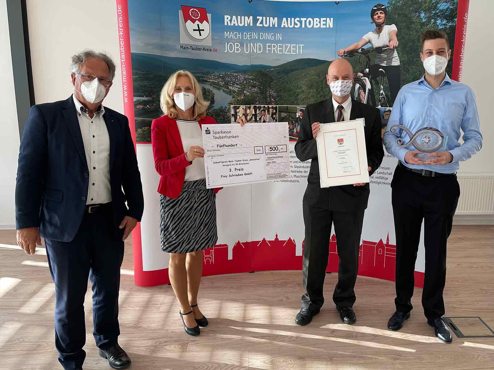 """Wir von Frey Schrauben GmbH haben den 3. Platz beim Zukunftspreis """"Innovation"""" 2020 des Main-Tauber-Kreises gewonnen"""